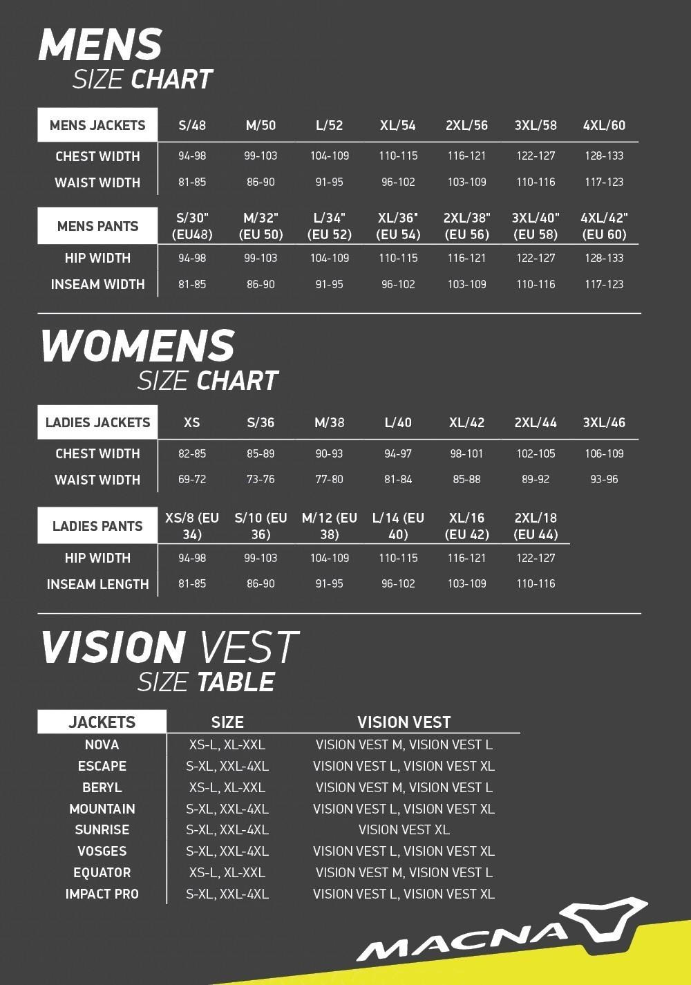 Macna Size Guide