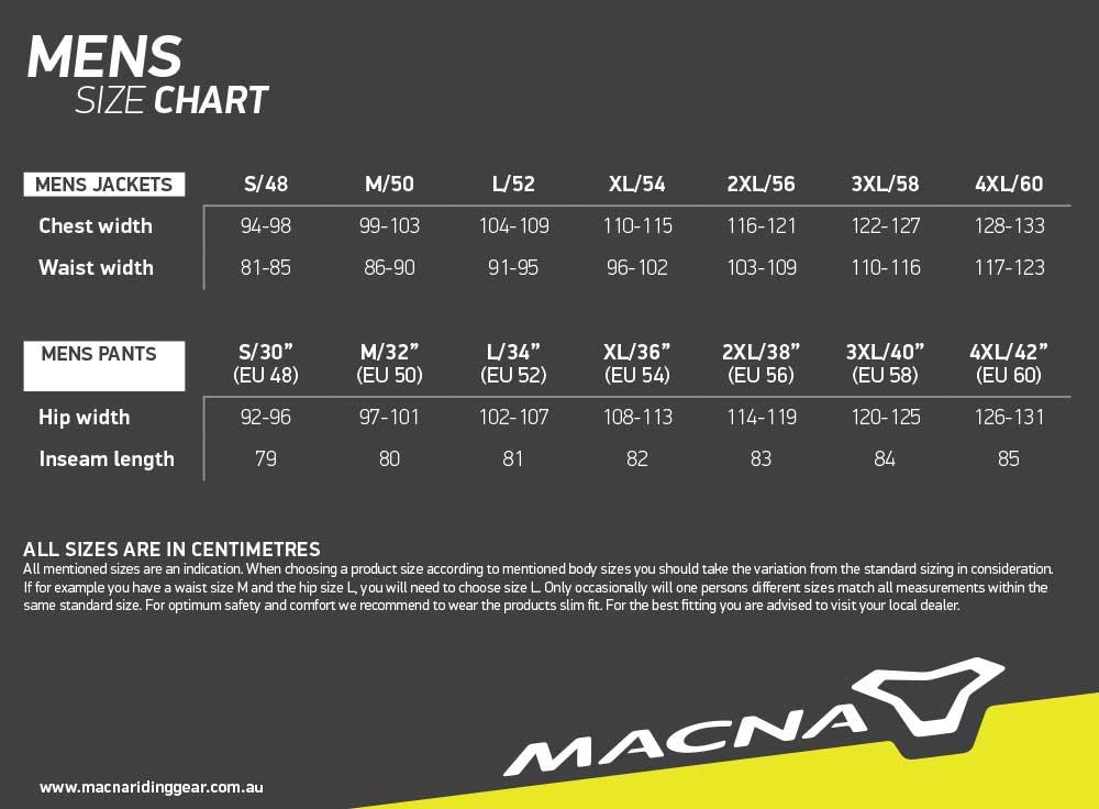 Macna Size Chart Mens